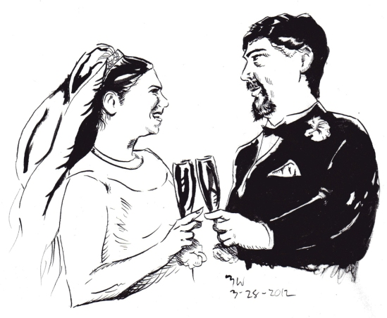 Drawing of Mike and Kelly's Wedding
